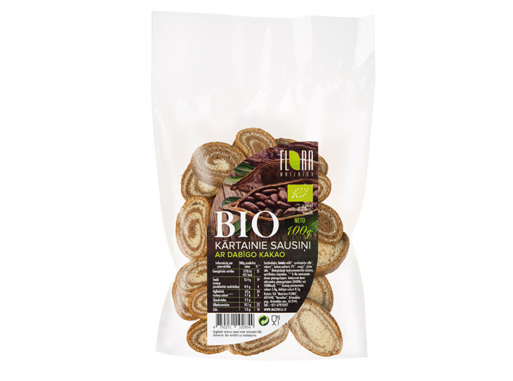 BIO kārtainie sausiņi ar dabīgo kakao 100g - maiznīca Flora