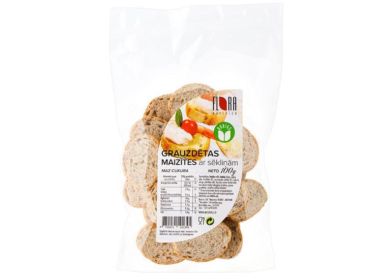 Grauzdētas maizītes ar sēkliņām 100g - maiznīca FLora