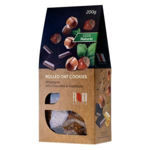 COOKIES Pilngraudu auzu cepumi ar šokolādi un lazdu riekstiem 200g