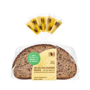 Lielās šķēles Sējas saldskābā maize ar briedinātiem rudzu graudiem 260 g
